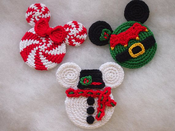 Mickey Mouse Minnie Mouse crochet pattern, Christmas Ornament ...