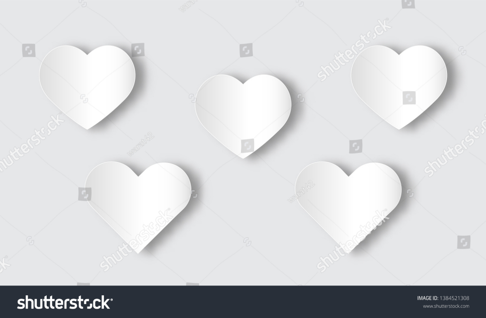 White Heart Shaped Icon Of Vector Or Illustration With Paper Art Style Vector Illustration Vector Paper Stock