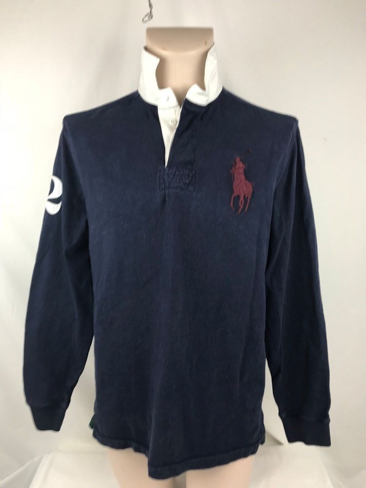 b5ab4d5caa6 Polo Ralph Lauren Mens Large 100% Cotton Blue Long Sleeve Casual Rugby Shirt  #PoloRalphLauren #PoloRugby