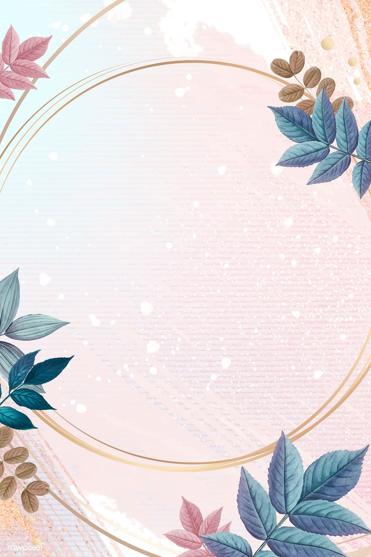 Download Premium Vector Of Blank Round Golden Frame Decorated With Flower Background Wallpaper Doodle Art Flowers Flower Backgrounds