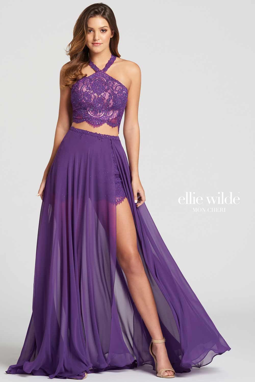 For A Stylish And Modern Bridesmaid Look Why Not Consider This Quirky Two Piece Purple Bridesmaid Ou A Line Prom Dresses Chiffon Prom Dress Prom Dresses Gowns [ 1500 x 1000 Pixel ]
