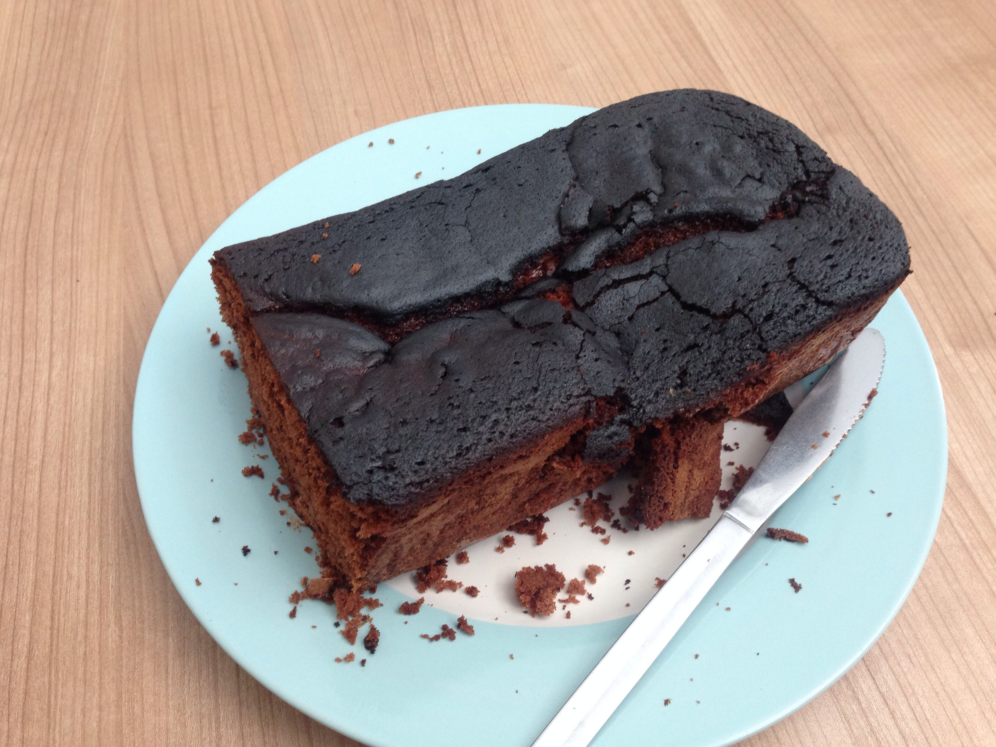 Homemade Chocolate loaf cake, burnt but still tasty: http://www.bbcgoodfood.com/recipes/694633/double-chocolate-loaf-cake