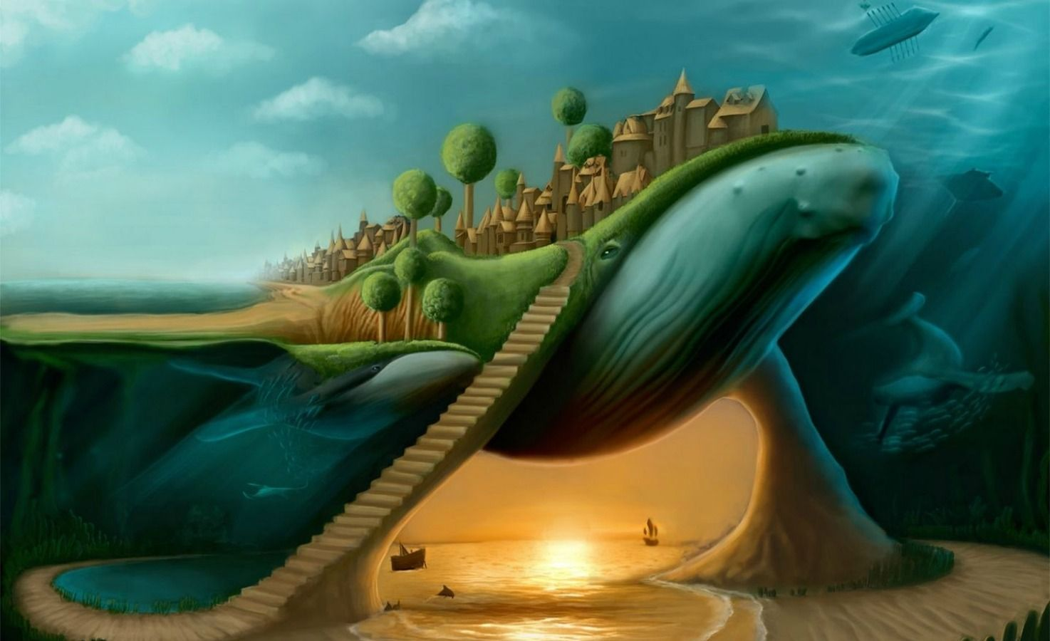 Wizard Of Oz Computer Wallpaper Surreal Art Whale Art Whale