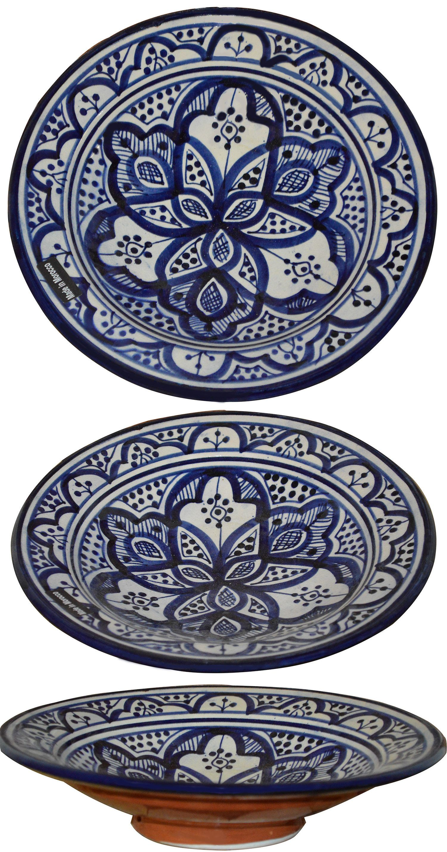 Moroccan Ceramic Plate Salad Pasta Bowl Serving Handmade Wall