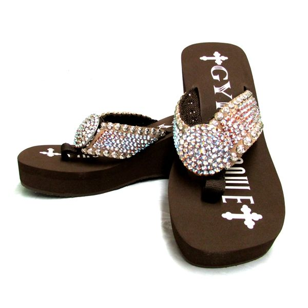 Gypsy Soule Tess Chocolate Heel Embellished Flip Flop Ch-Tess  Clothes  Flip Flops, Heels -8750