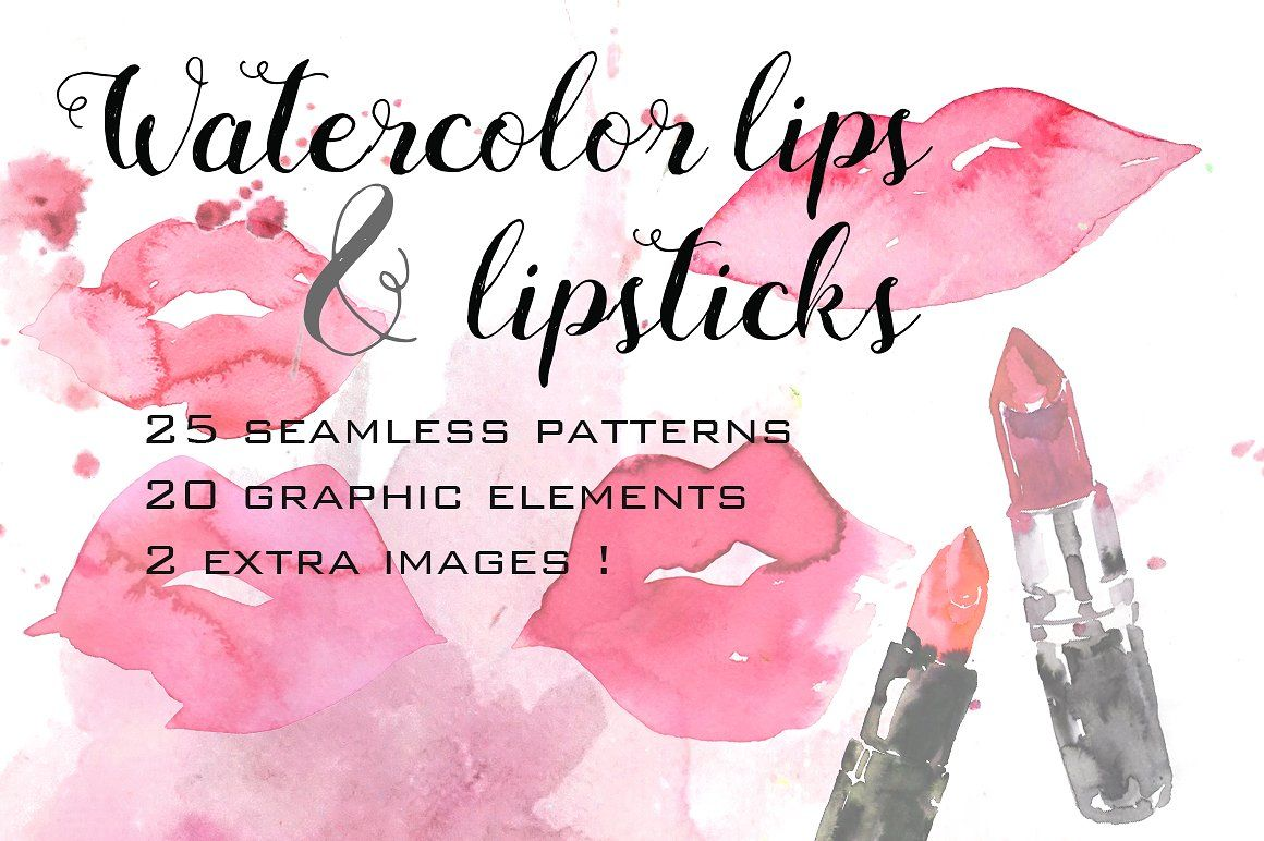 Watercolor Lips And Lipsticks Set Rgb X4000x Seamless Dpi