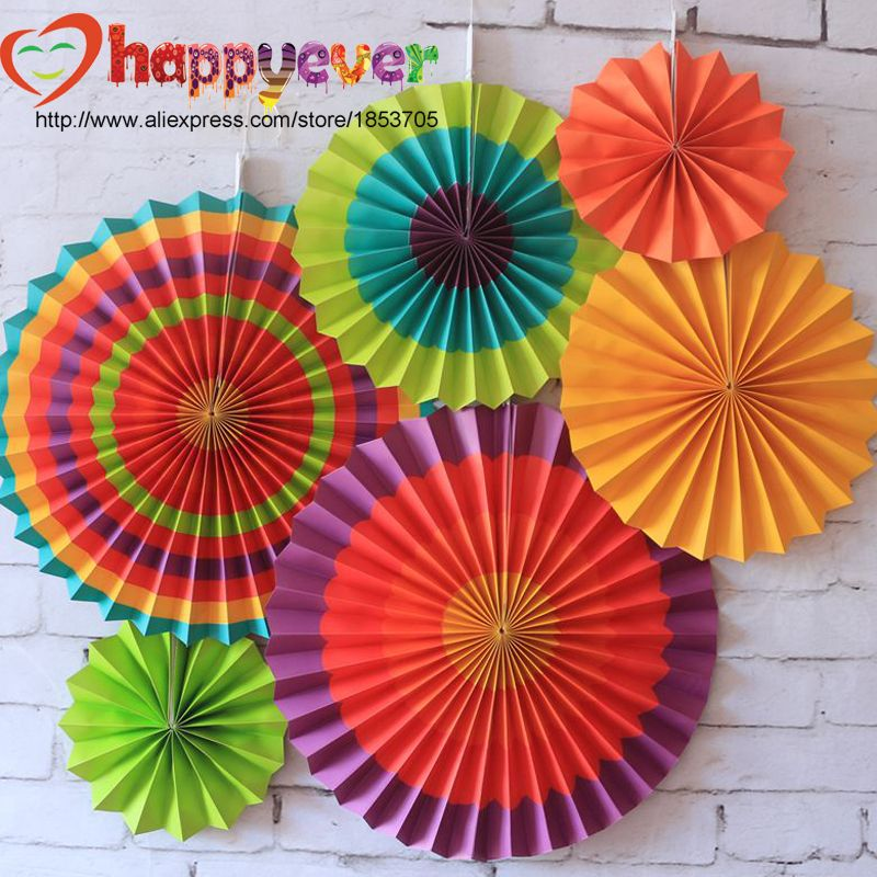 Wall Decoration For Event : One set colorful paper fans round wheel disc birthday kids