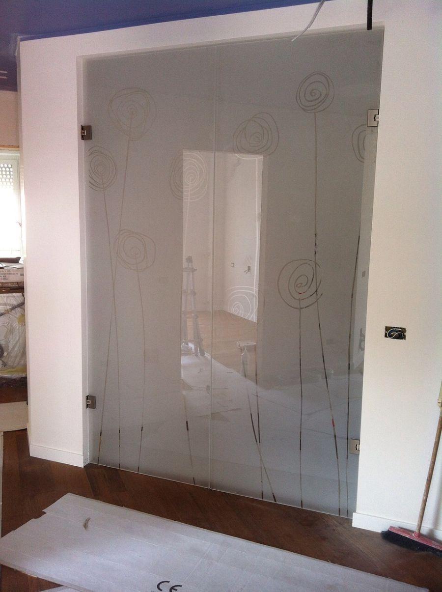 porta-vetro-sabbiata-bianca-doppia-battente-fiori | Porte ...