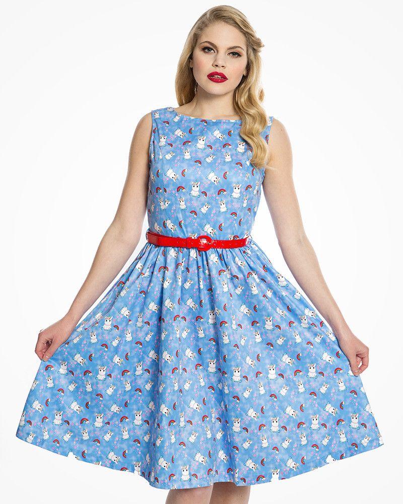Audrey Blue Baby Unicorn Print Swing Dress Vintage Inspired Fashion Lindy Bop Swing Dress Dresses Vintage Inspired Fashion