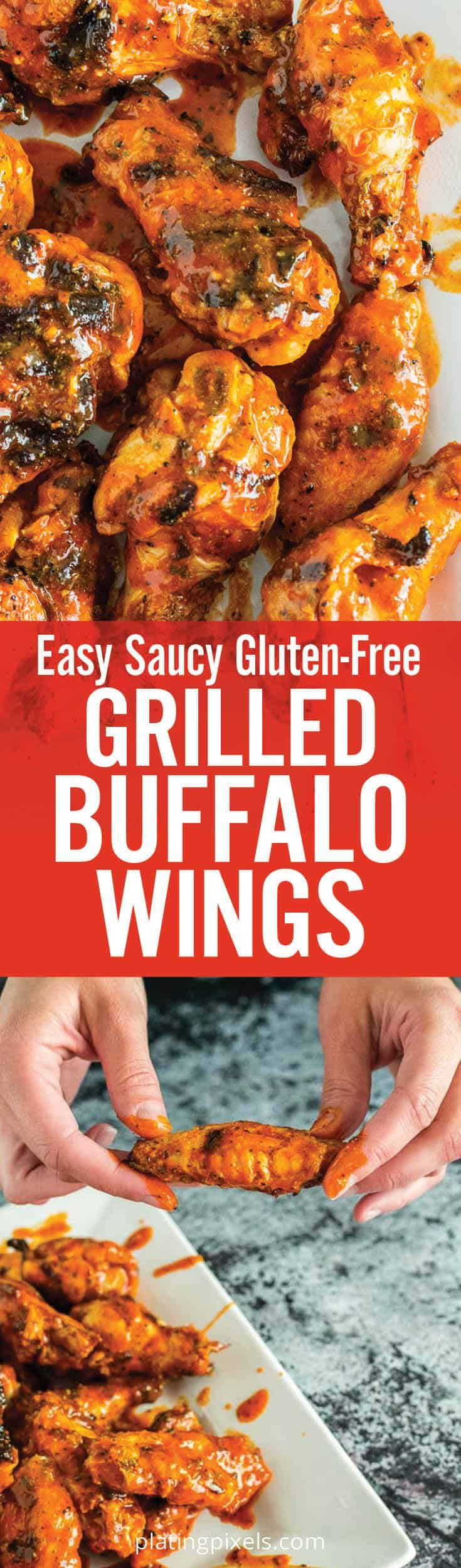 Easy Saucy Grilled Buffalo Wings Are A Unique Summer Bbq Recipe Tender Buttermilk Marinated Chicken Party Wings Coated Recipes Bbq Recipes Summer Bbq Recipes