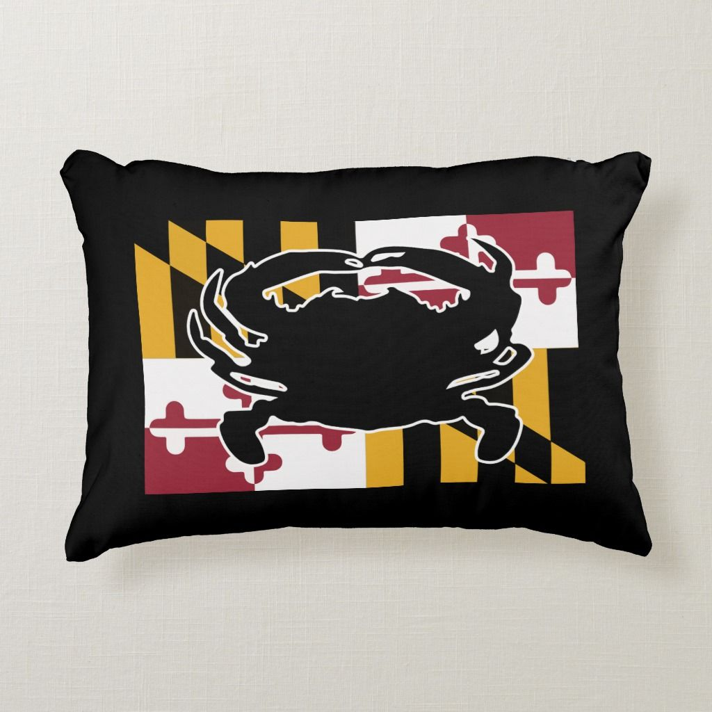 Maryland Flag Crab Pillow Zazzle Com In 2020 Crab Pillow Maryland Flag Crab Maryland Flag