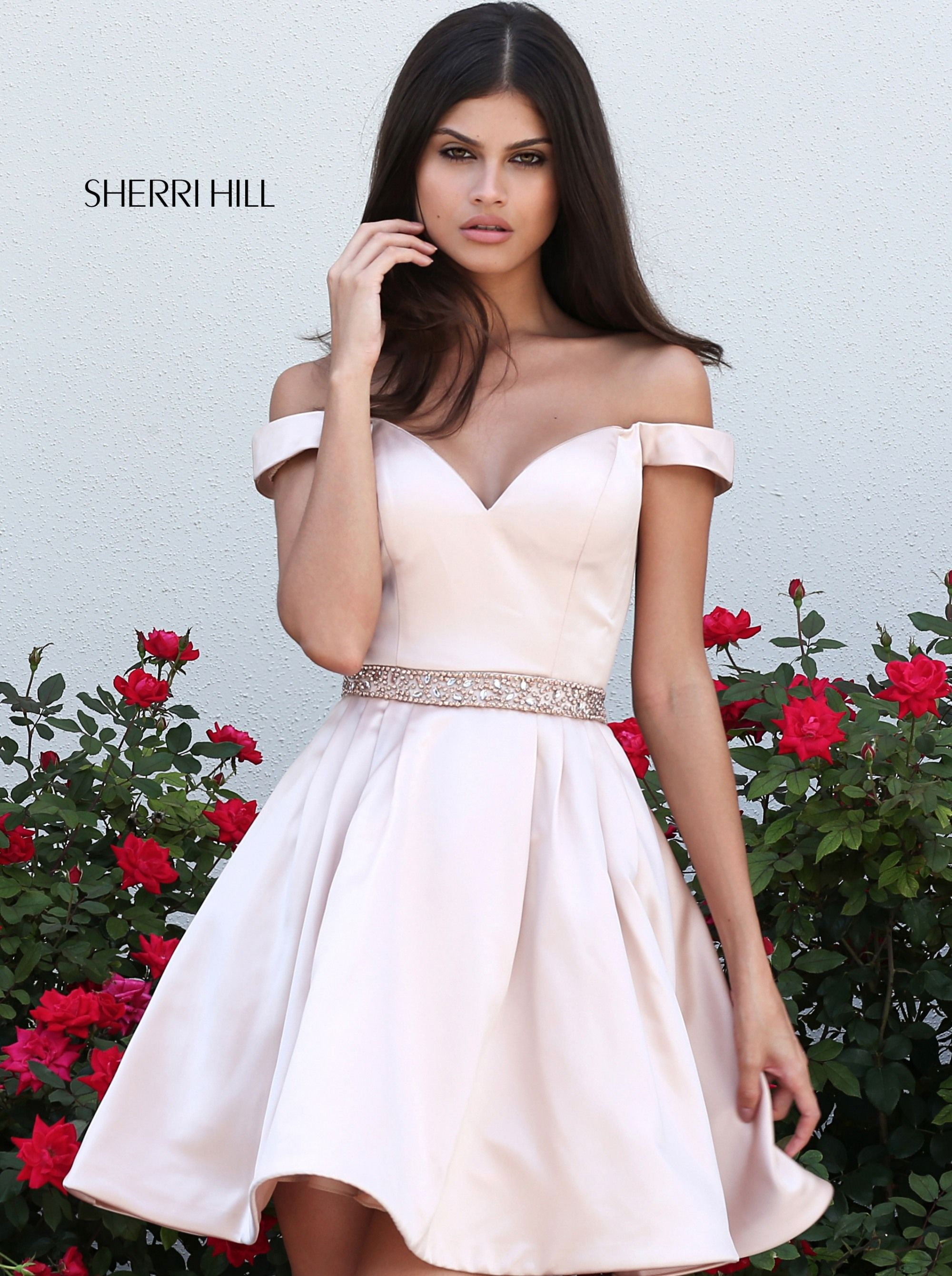 SHERRI HILL 50815 Nude YPSILON DRESSES Short Off the Shoulder Simple Dress  with Beaded Belt prom