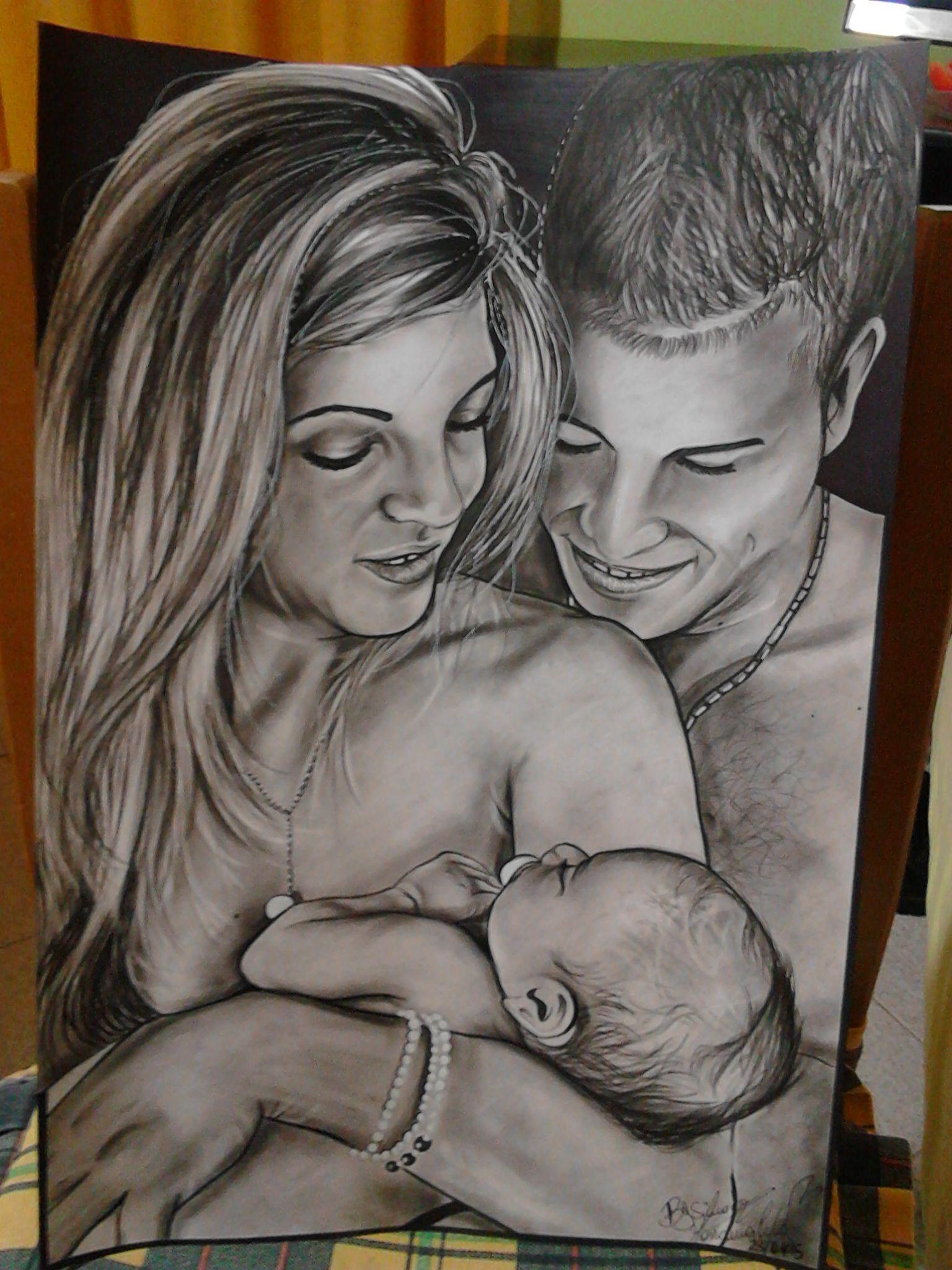 Maternità F4 33x48cm foglio liscio Fabriano,carboncino grasso Lyra e pennarello nero Faber Castell