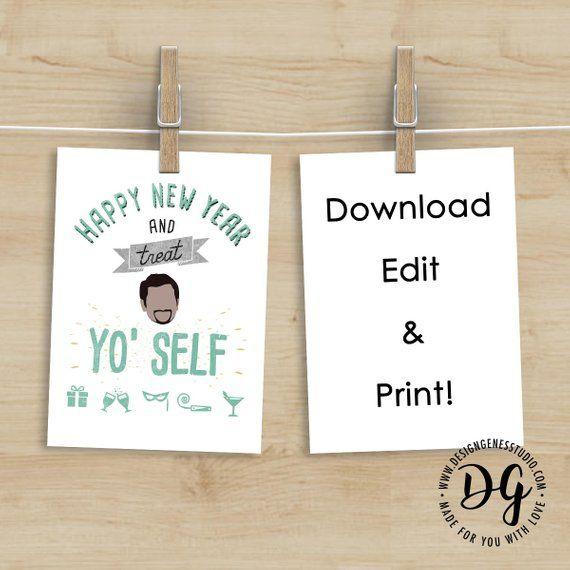 Printable Treat Yo Self New Year Card Parks And Rec Hny