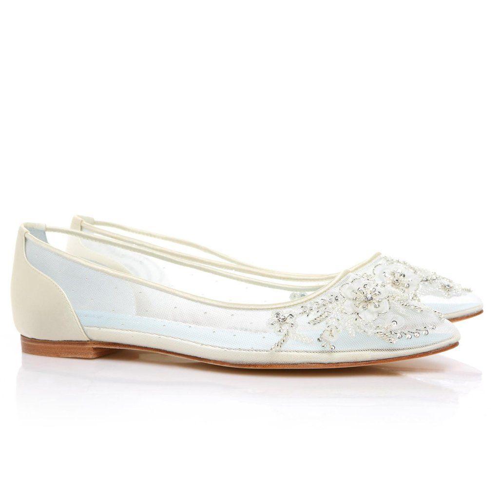 Floral Beaded Comfortable Wedding Flats - Adora Ivory   Wedding ...