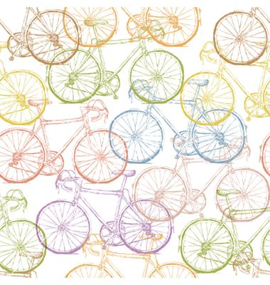 Seamless multi colored bicycles pattern vector - by pashabo on VectorStock®