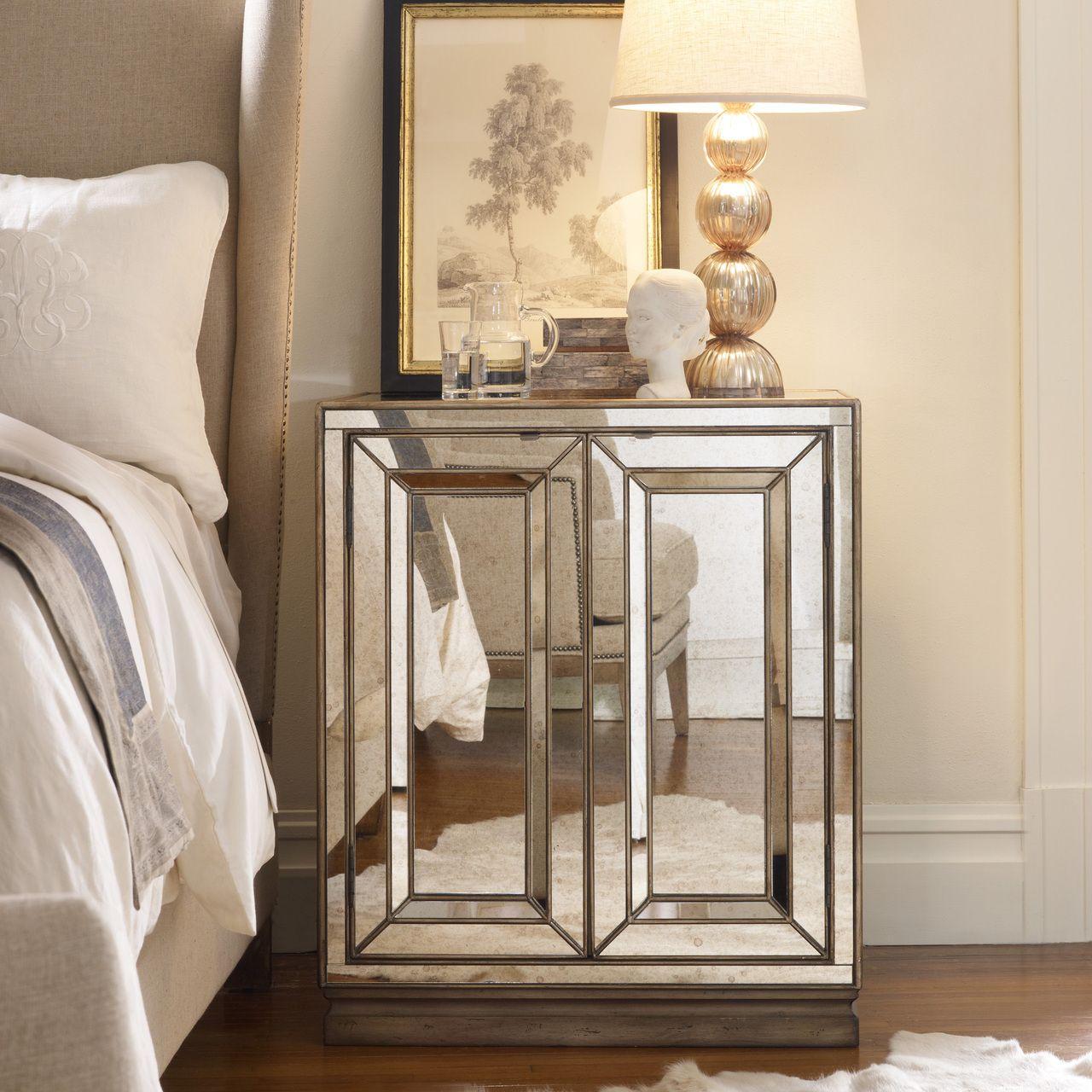 Two door mirrored night stand hooker furniture tomsprice