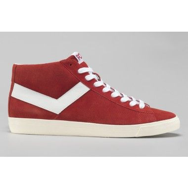 Pony Topstar Suede Hi Top Red Trainers