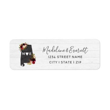 Alabama State Destination Wedding Return Address Label - script
