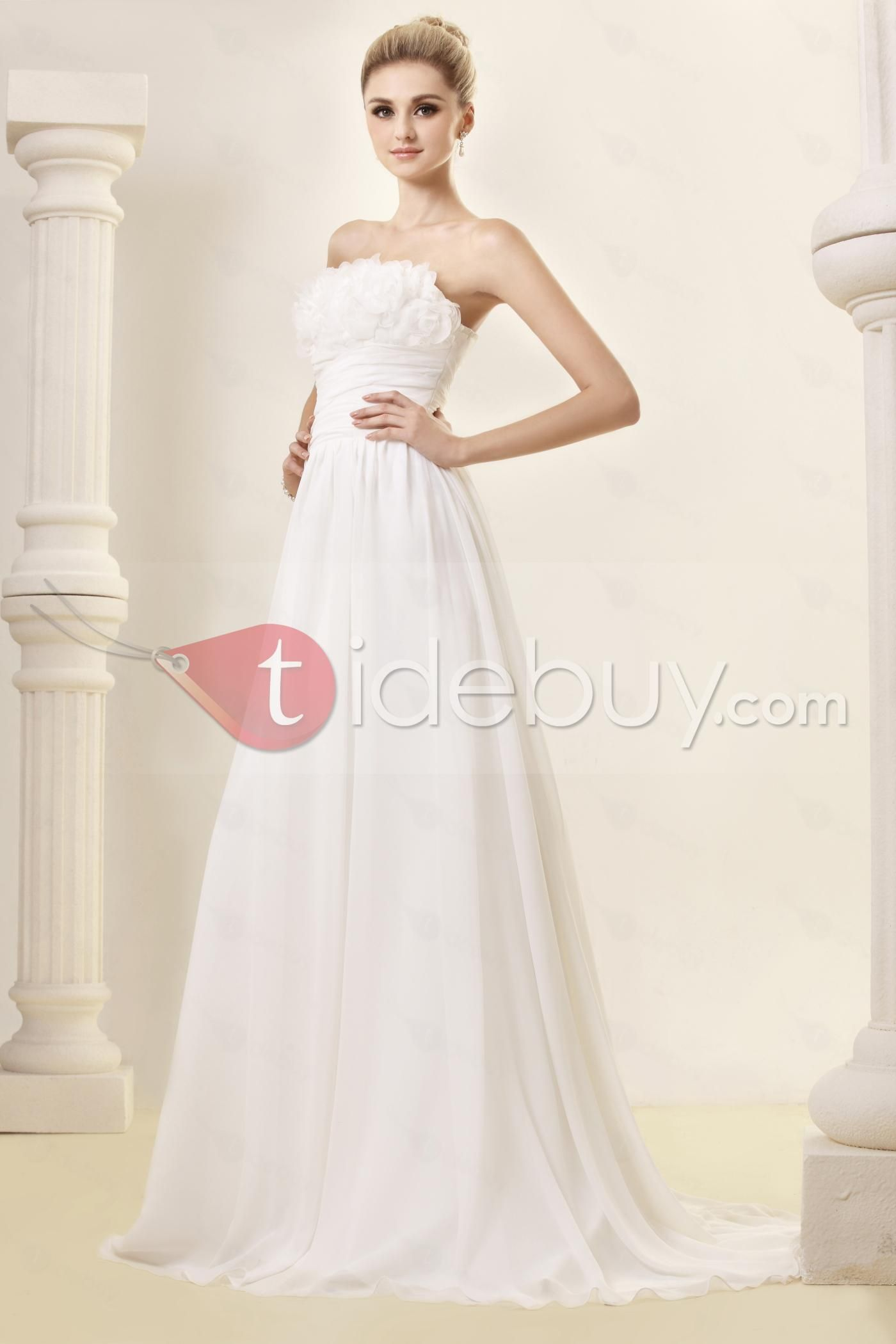 Delightful empire flowers strapless chapel dashaus wedding dress