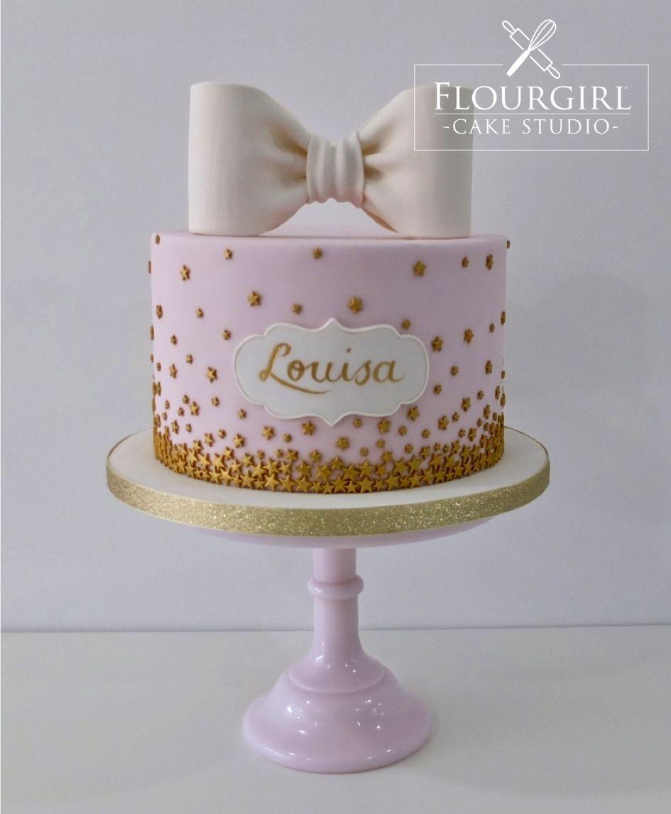 Awe Inspiring Stars And Bow Cake Pink Birthday Cake Gold Stars Cake Pink And Personalised Birthday Cards Epsylily Jamesorg