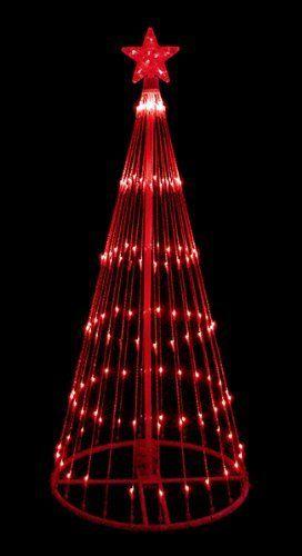 6\u0027 Red LED Light Show Cone Christmas Tree Lighted Yard Art