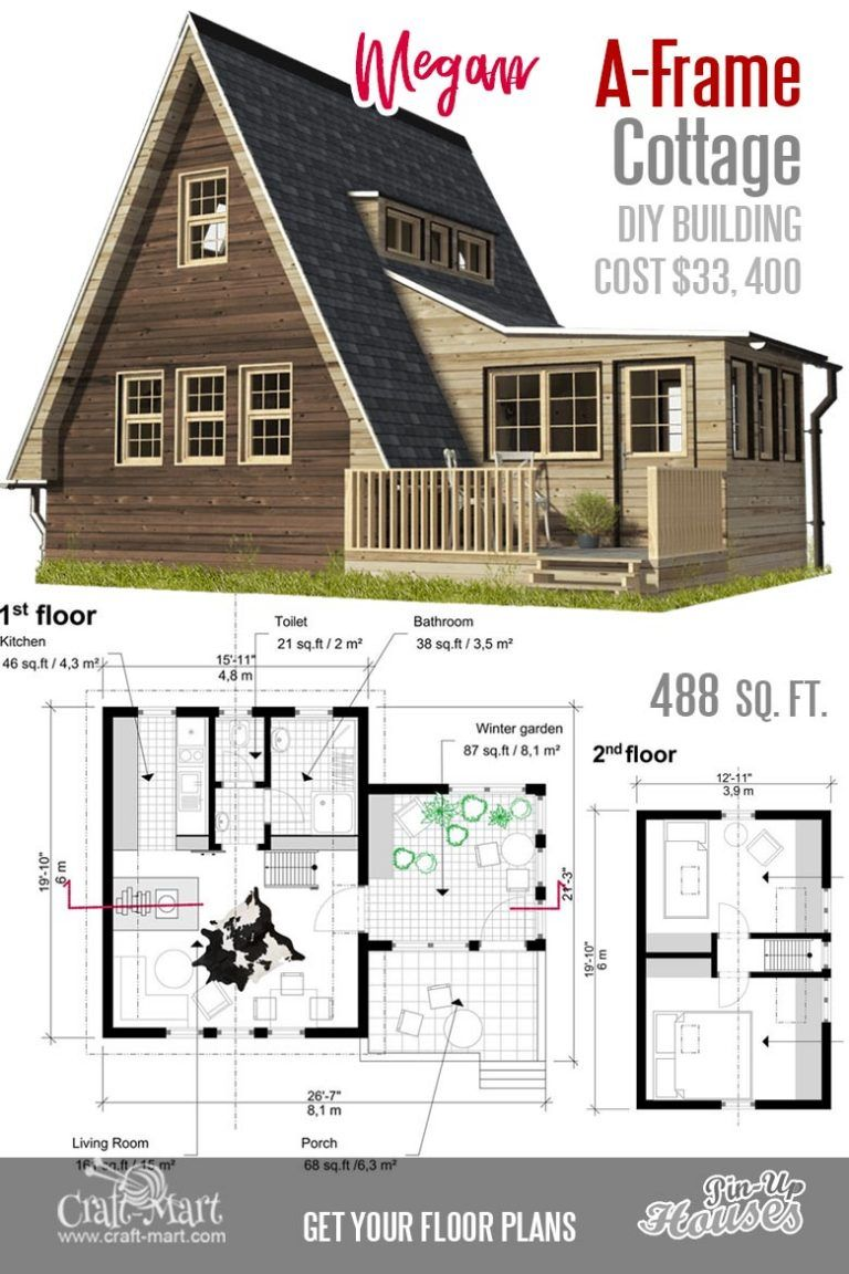 Cute Small Cabin Plans (A-Frame Tiny House Plans, Cottages, Containers) -  Craft-Mart | Small cabin plans, Cute small houses, Small house floor plans
