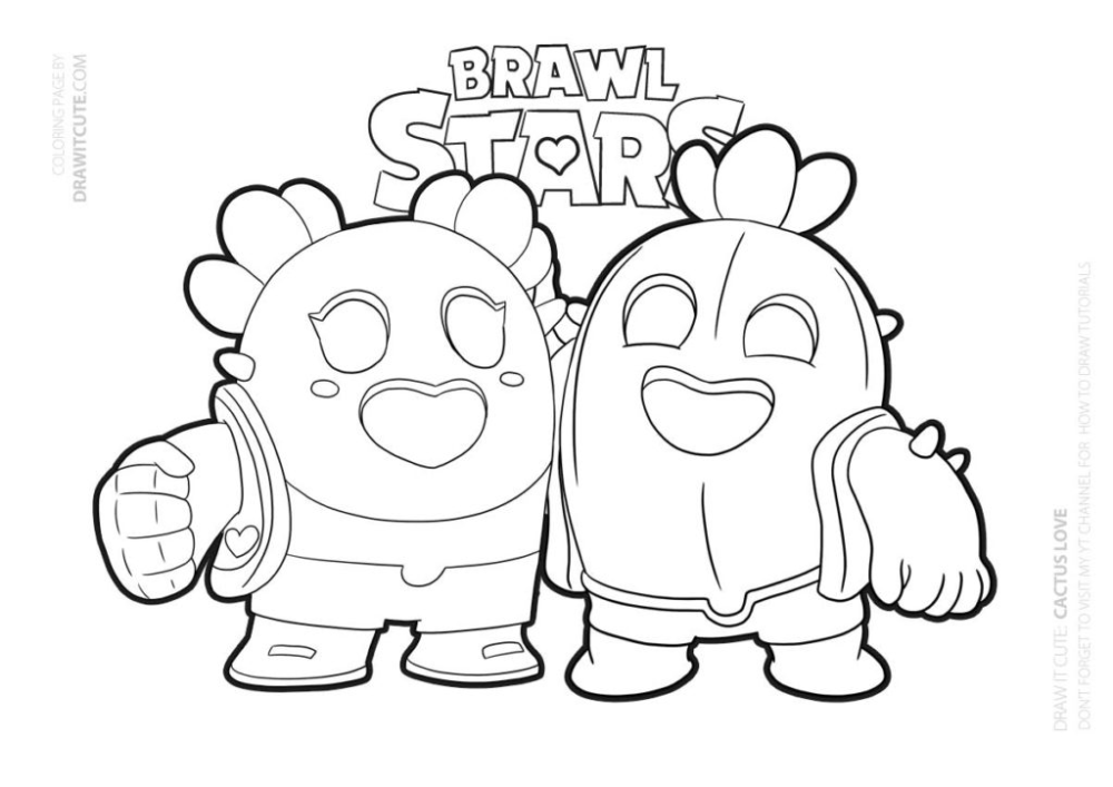 Cactus Love Brawl Stars Coloring Page Color For Fun Star Coloring Pages Coloring Pages Cool Coloring Pages