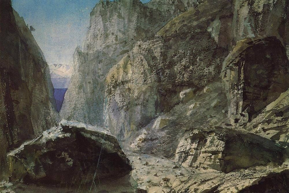 Vasiliy Polenov (1844 — 1927, Russia) Gorge among the rocky mountains. 1897 watercolor on paper. 24 x 20 cm.  Василий Дмитриевич Поленов