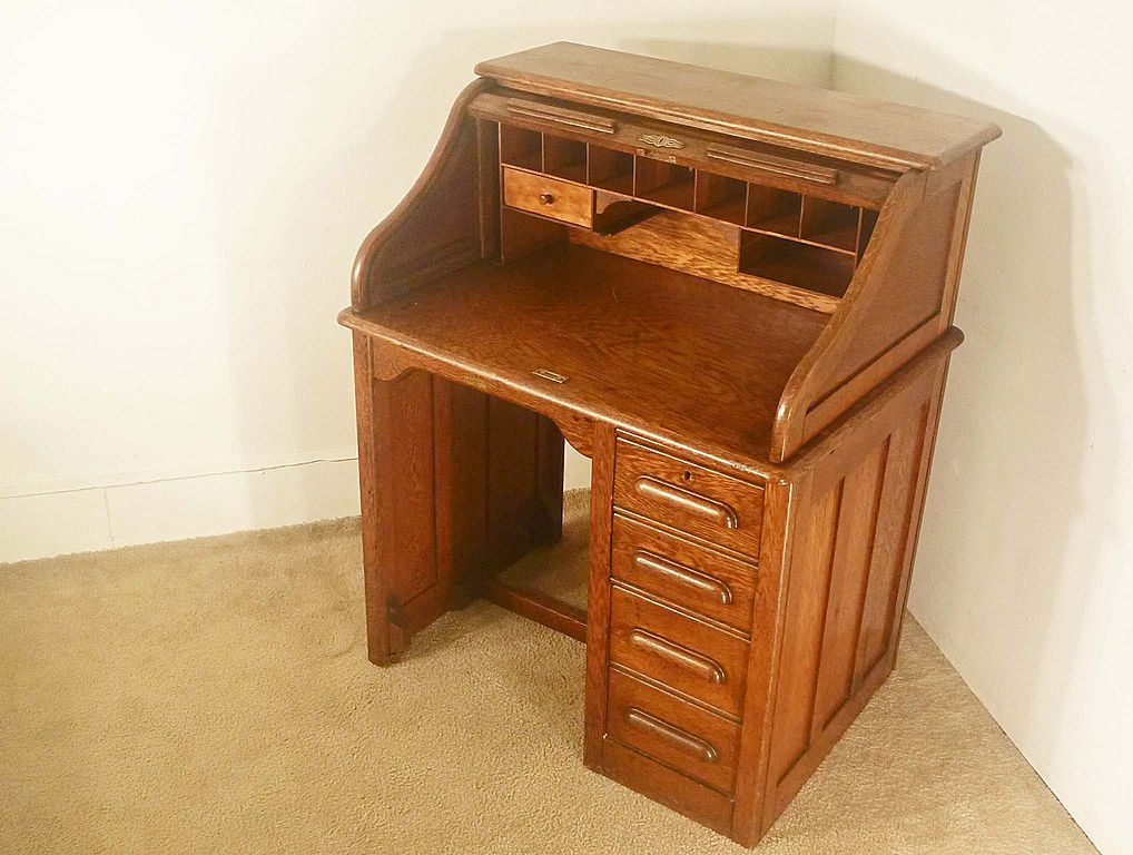 A Cute Little Roll Top Desk With File Drawer Perfect For A Small