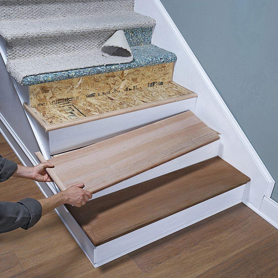Retrotread 11 5 In X 42 In Unfinished Red Oak Stair Tread At Lowes | Prefab Oak Stair Treads | Hardwood Flooring | Wood Flooring | Wood Stair | Solid Oak | Risers