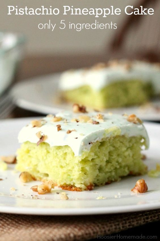 Pistachio Pineapple Cake - Quick, easy to make cake with ONLY 5 ingredients! A luscious frosting with only 3 ingredients! Pin to your Recipe Board!