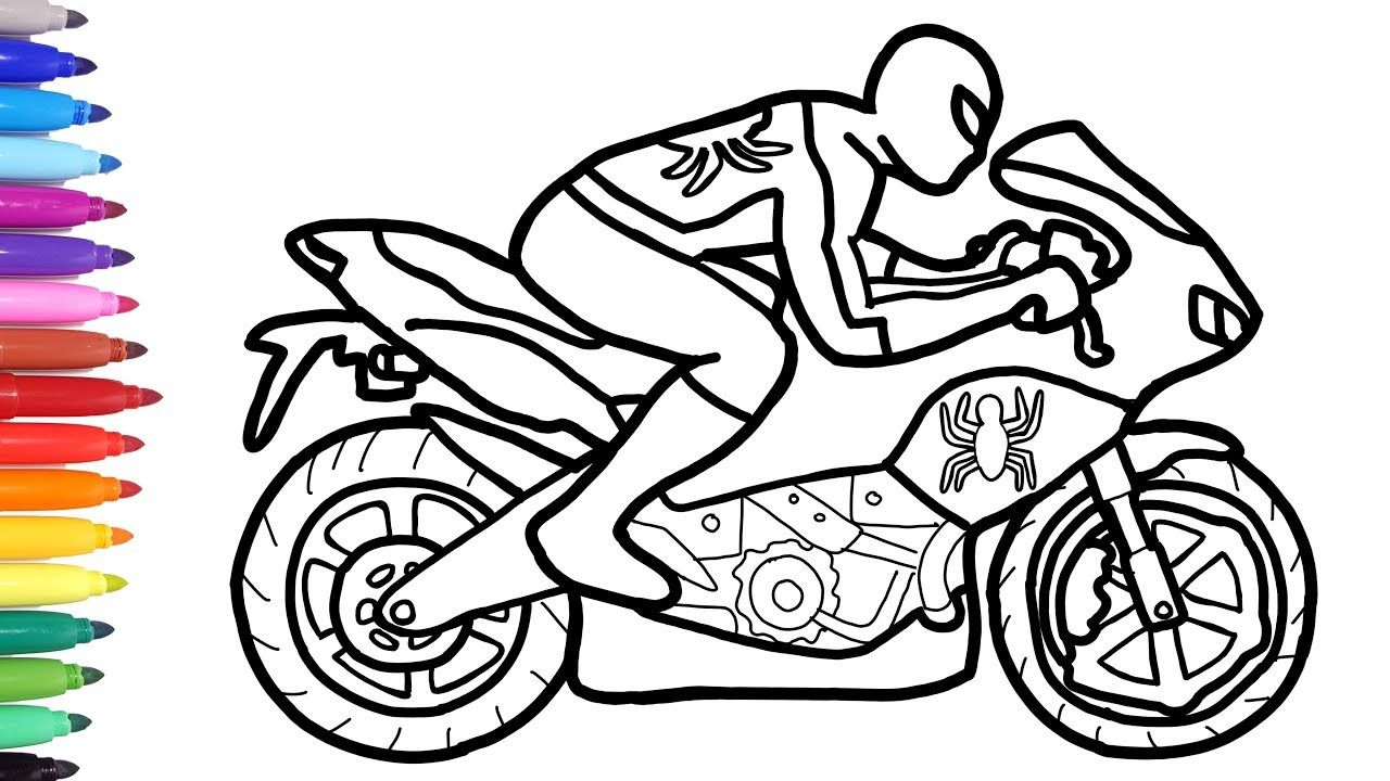 Motorcycle Coloring Pages Spiderman Motorcycle Coloring