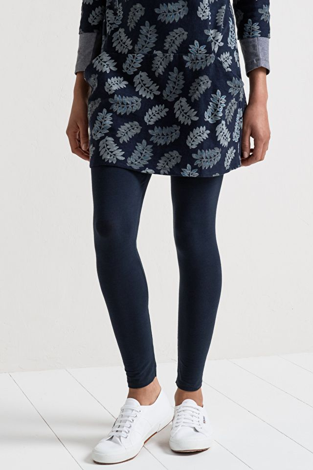 6761f564ee59 Full length women's leggings in soft organic cotton stretch jersey with  comfy elasticated waistband. A great alternative to tights under dresses  and tunics.