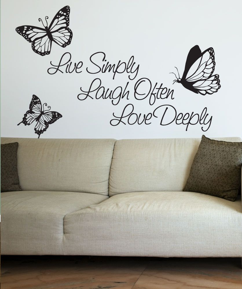 Vinyl wall decal sticker inspirational quote live simply laugh ofter