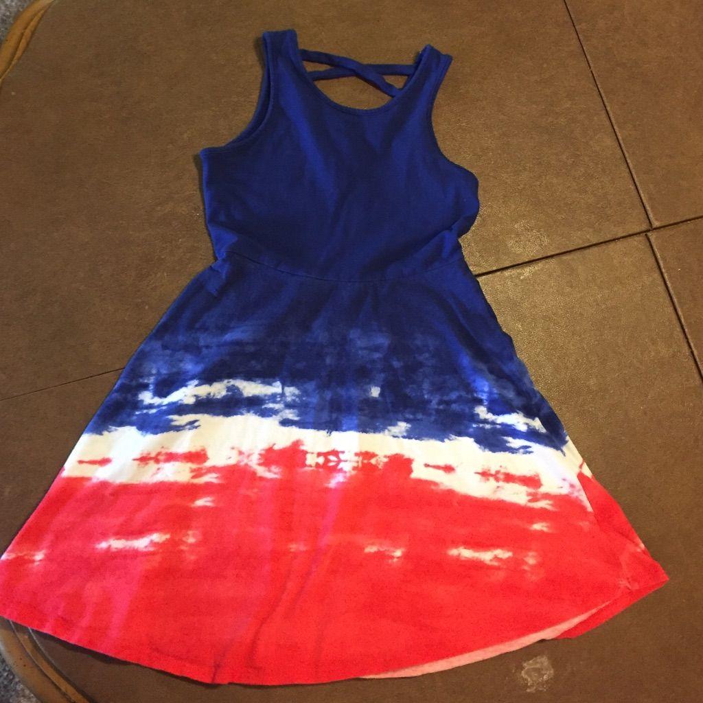 Girls Short Sundress Red White And Blue Xs (7/8) #shortsundress
