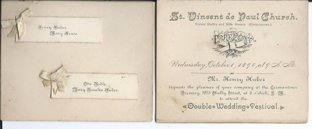 1890 Wedding Invitation For A Double Wedding Festival Louisville Ky Kentucky Huber Germantown St Vince Festival Wedding Double Wedding Wedding Invitations