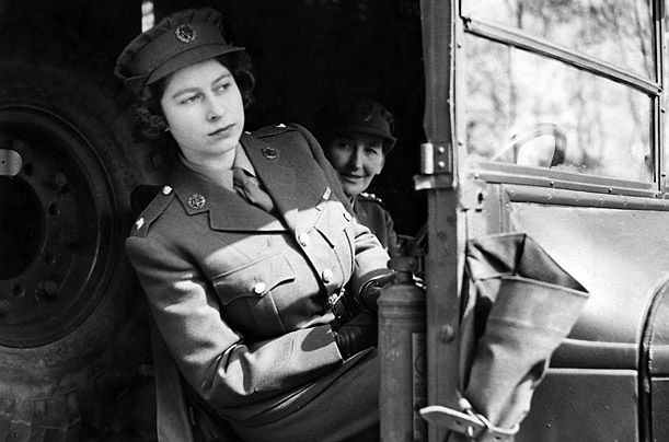 Princess Elizabeth driving an ambulance on April 10, 1945.  She was trained as a driver and a mechanic.