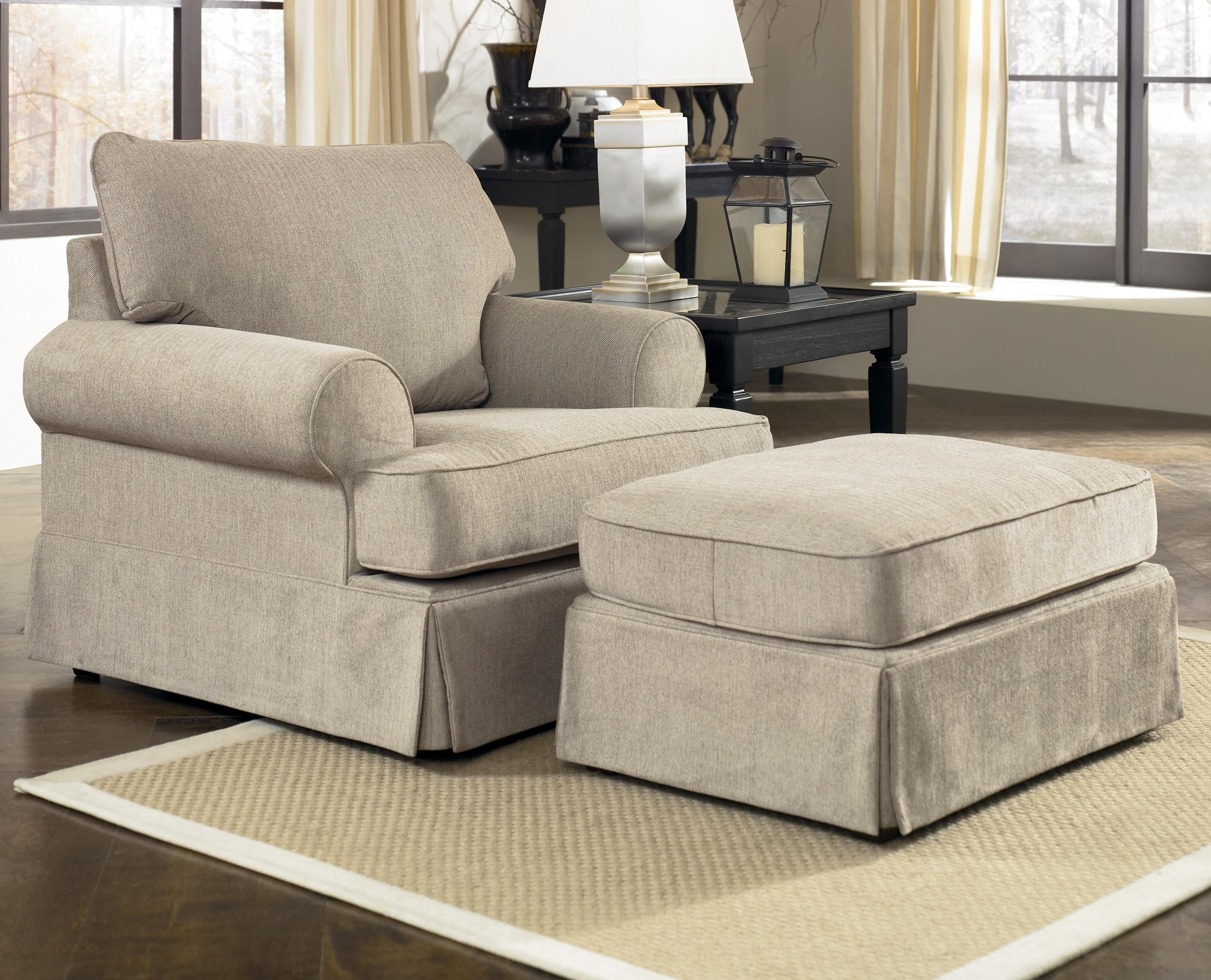 Living Room Chair With Ottoman Candlewick Linen Chair And Ottoman By Signature Design By Ashley