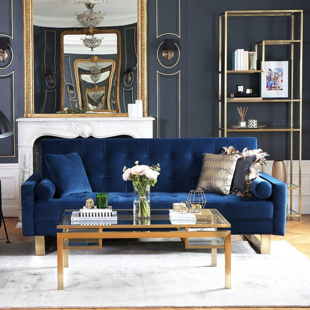 Un Canape En Velours Bleu Cosy Nv Gallery Assises