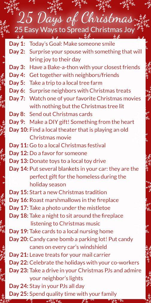 25 Days Of Christmas 25 Days Of Christmas Christmas To Do List Christmas Bucket List