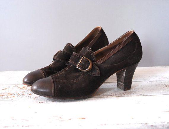 1930s Heels / Buckle Suede Heels / 30s by wildfellhallvintage, $65.00