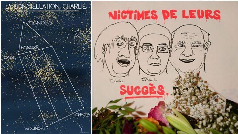 À gauche, l'illustration de Jean Dobritz, le dessinateur du Figaro, en hommage à ses amis et confrères de Charlie Hebdo. A droite, une illustration spontanée déposée par un des participants lors de la marche républicaine de dimanche.