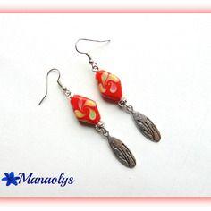 Boucles d'oreilles argentées perles losanges orange en verre, pendentifs ovales feuilles