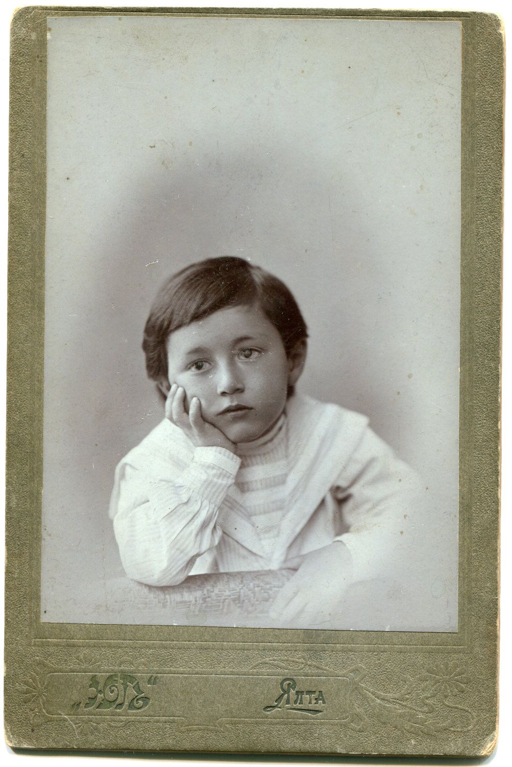 Russia: Extremely beautiful photo of young thoughtful boy in sailor suit child photograph Antique Cabinet Photo 1890s Cabinet Card by PhotoMemoriesLane on Etsy