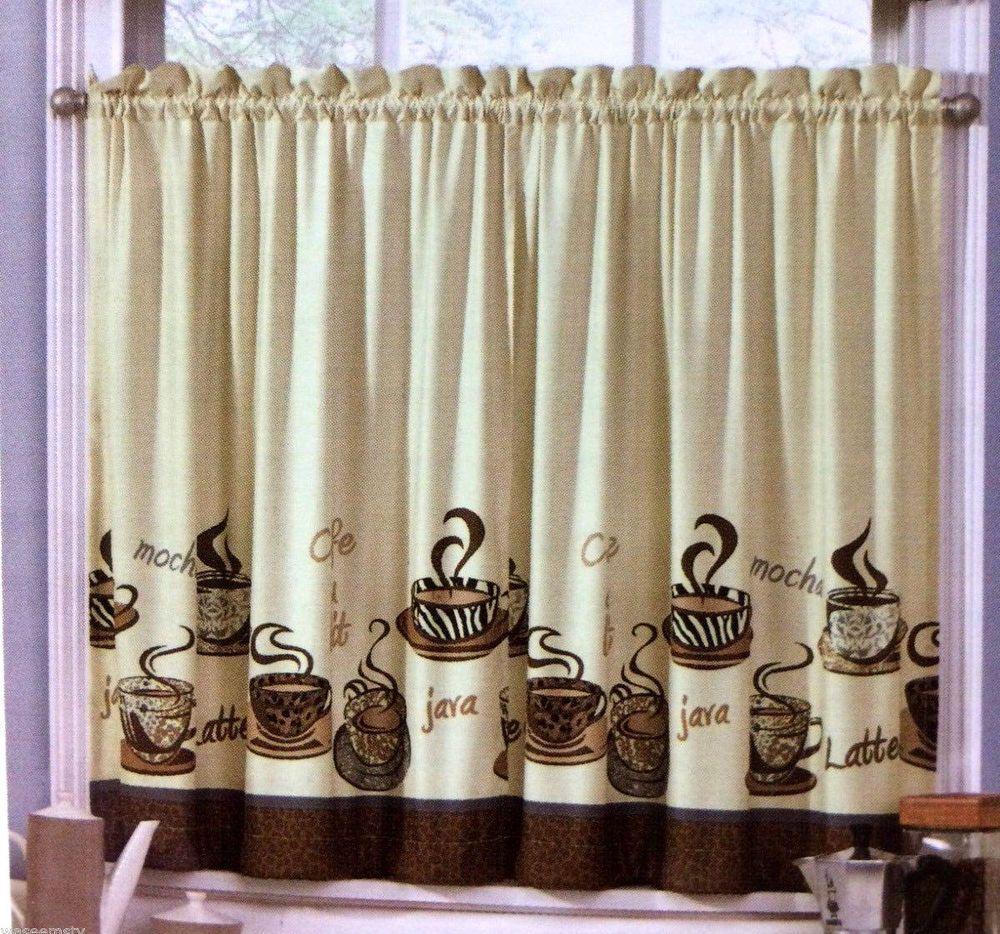 Coffee Espresso Latte Cafe Ivory Brown Kitchen Curtains: CAFE JAVA LATTE MOCHA ZEBRA ANIMAL PRINT Kitchen Window Curtains 2 Tiers Tans #INTERIORSBYDESIGN