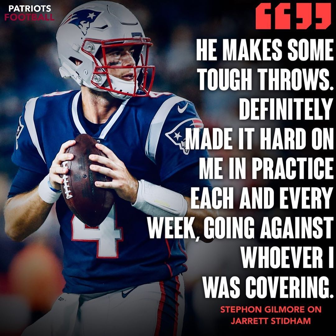 Defensive Player Of The Year Stephon Gilmore Has Some Nice Things To Say About Qb Jarrett Stidham Follow Me Patriotsfoot In 2020 Nfl Teams Patriots Football Helmets