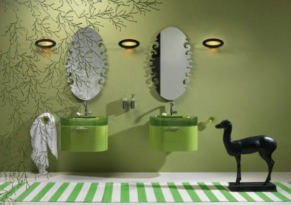 badezimmer ideen regia bilbao grün wand waschbecken wandspiegel ...
