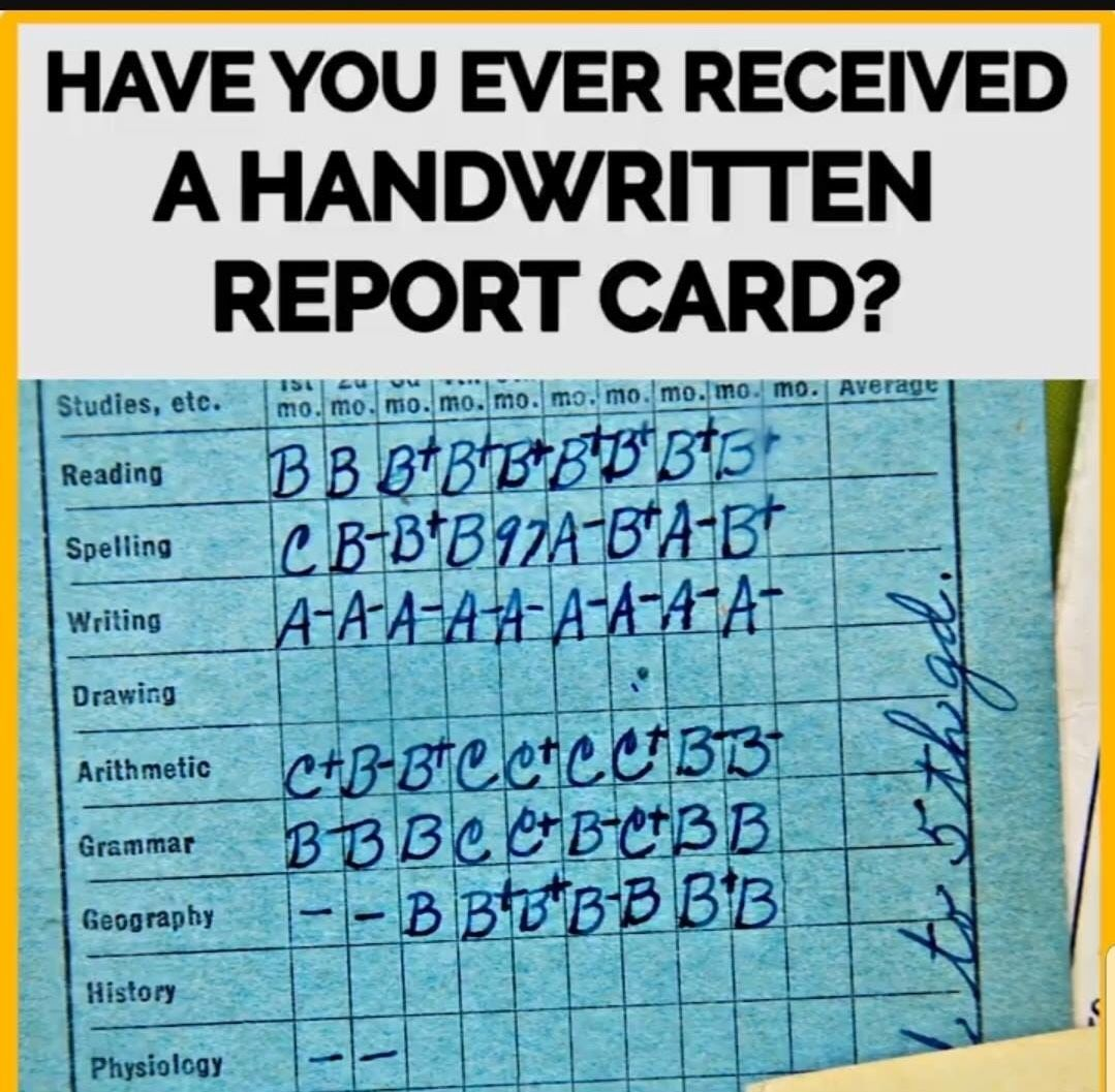 80s report card  Handwritten report card | Childhood days, Childhood toys ...