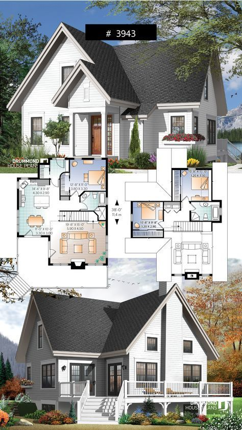 3 Bedroom A Frame Cottage With Mezzanine And Large Terrace Cottage Chalet Country Traditiona In 2020 Drummond House Plans Country Cottage Decor Cottage House Plans